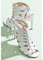 Elle İnce Topuklu %100 Deri Ayakkabı Beyaz